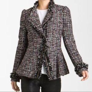 McGinn Wool Blend Metallic Tweed Peplum Jacket 10
